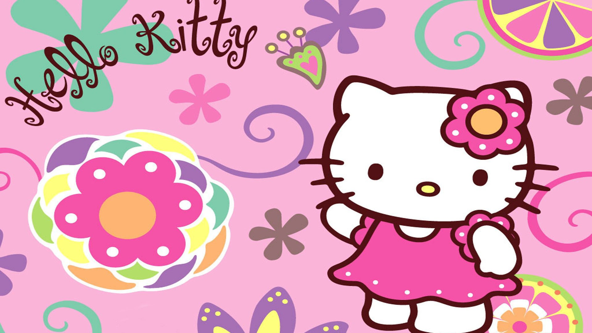 Desktop Wallpaper Hello Kitty Pictures with image resolution 1920x1080 pixel. You can use this wallpaper as background for your desktop Computer Screensavers, Android or iPhone smartphones