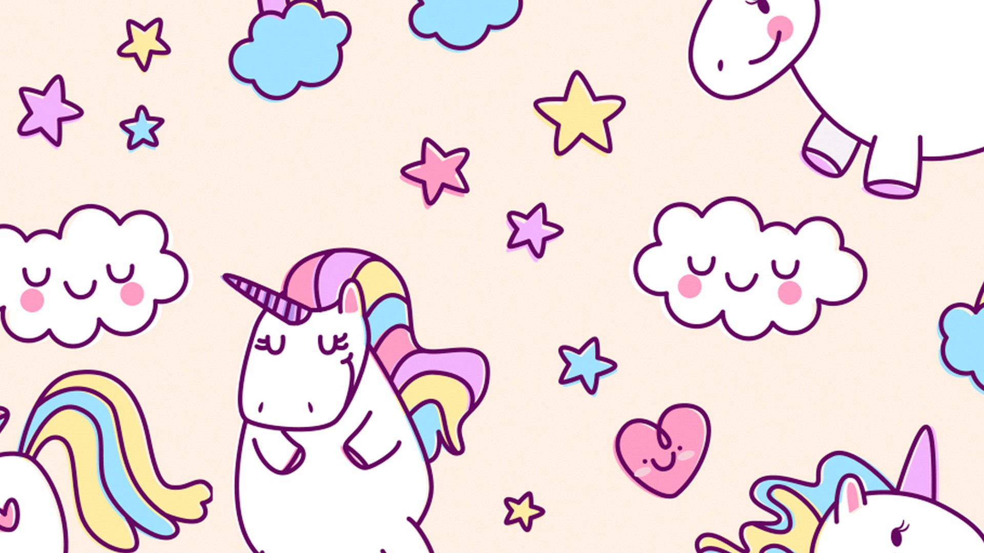 Desktop Wallpaper Cute Unicorn with high-resolution 1920x1080 pixel. You can use this wallpaper for your Windows and Mac OS computers as well as your Android and iPhone smartphones